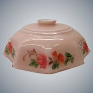 Art deco Opaline glass lamp shade with painted flowers