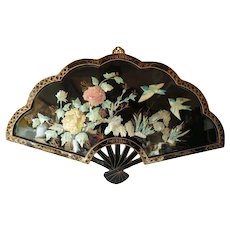 Large japanese lacquered wood with MOP wall fan - mid century