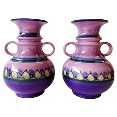Flora Gouda Plateel Holland - Pair of lilac purple vases from the 1960s 1970s