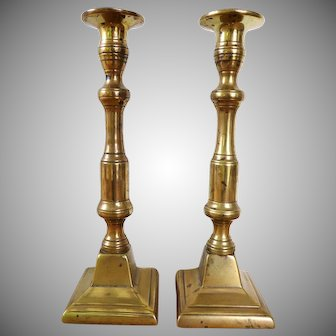 Pair of Victorian brass candleholders / candle sticks