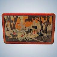 Vintage biscuit  tin with hunting scene - 1920s 1930s