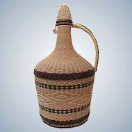 Mid Century Demijohn - 6 liter bottle carboy  - demi john in nylon basket