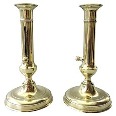 Antique Pair of Brass Ejector candlestick / candle holder - France  19th Century
