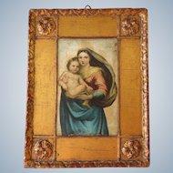 Florentine gilded Madonna with child frame - mid century