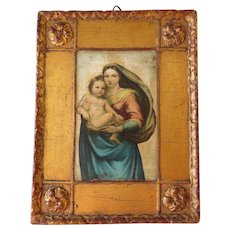 Florentine gilded Madonna with child frame - mid century