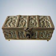 French bronze box with religious decor