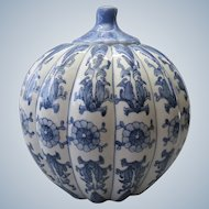 "Large 10"" Vintage chinese porcelain blue white ginger jar"