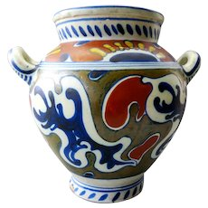 Early  Gouda Plateel Zuid Holland  PZH - Antique ceramic pot with Rhodian pattern - ca 1905 -1910
