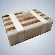 Vintage Italian white and brown striped marble trinket box