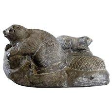 Signed Al Wolf Original Inuit Beaver figurine