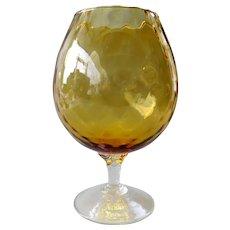 Empoli Italy -  Mid-century handblown amber glass vase in diamond optic pattern