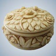A.G. Vintage Italian trinket box with floral roses in ivorine marble resin
