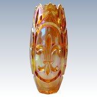 Joseph Inwald - Marigold Carnival glass vase with fleur de lis pattern - 1940s Czech
