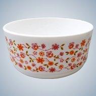 Arcopal France - Opaline milk glass bowl - Floral design Scania