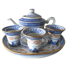 Chinese Rice Grain Porcelain small teapot with cups and platter - translucent tea set