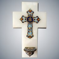 Antique French champleve enamel crucifix cross mounted on onyx marble Holy Water Font