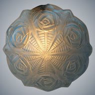 Degue - French Art Deco blue glass Dome Lamp shade for pendant chandelier - France, late 1920s