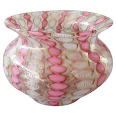 Vintage Zanfirico murano glass bowl with pink and white filigree ribbons