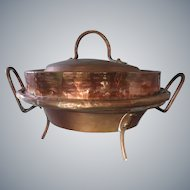 French 1800s antique copper Tourtiere or Pie pot pan