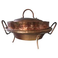 French 1800s antique copper Tourtiere or Pie pot pan