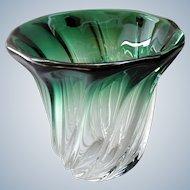 Val St Lambert - Mid-century twisted green-shaded crystal vase Torsade