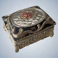 Enamel with Filigree Trinket or jewelry Box in jugendstil - Mid century