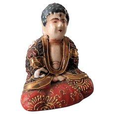 Old Japanese Satsuma small Moriage porcelain Buddha Figurine