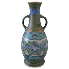 Gouda Plateel Zuid Holland  PZH - Art pottery vase with Aspera pattern - ca 1930s
