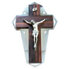 Vintage French Art Deco rosewood wall crucifix - 1930s