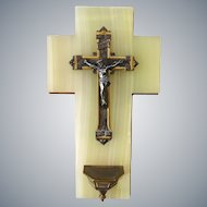 Antique French Holy Water Font with bronze crucifix on onyx marble