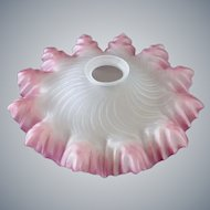 1930s Art Deco Lamp shade with frilled edges - pink and frosted glass