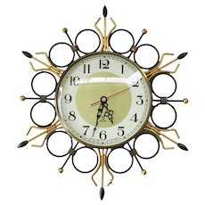 Jaz France - Vintage black and gold plated Sunburst wall clock