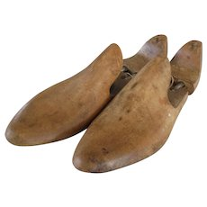 Pair early vintage wooden shoe stretchers -  oak wood mold shoes