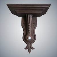 Antique 1800s Robust carved solid wood wall shelf or bracket or side table - France