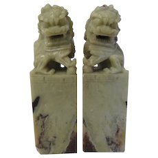 Vintage pair of chinese soapstone carving - soap stone foo dogs