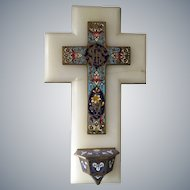 Antique French blue champleve Holy Water Font - enamel crucifix cross mounted on onyx marble