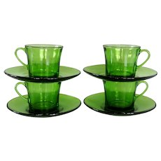 Set of 4 Vintage french Duralex cup and saucers in green glass