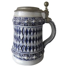 Vintage German Westerwald beer stein in stoneware with blue salt glaze