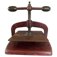 Antique Cast iron dark red bookpress  / book binding press with brass handles