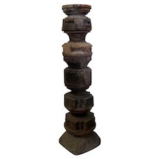 Vintage XL baluster old wood candlestick - wooden candle holder