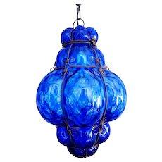 Venetian cage pendant light in royal blue optic glass - Murano Italy Mid century