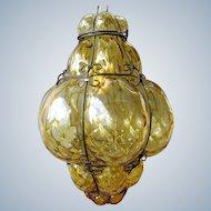 Very large venetian caged bubble glass pendant light - Mid-century Murano Italy