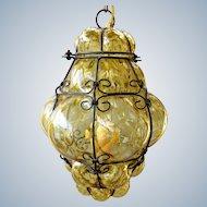 Venetian cage pendant light in amber optic bubble glass - Murano Italy Mid century