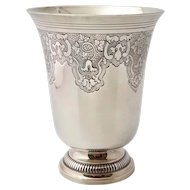 "Large French Antique Sterling Silver Wine Cup, Beaker, ""Timbale"""