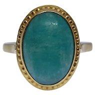 French Vintage Amazonite Ring 18k Gold