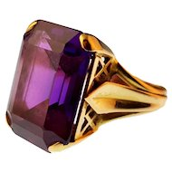 French Vintage Created Color-Change Sapphire Cocktail Ring, 18k Gold