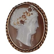 Large Antique Victorian Sardonyx Shell Cameo Brooch Flora, 18k Gold