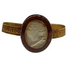 Loyalist Cameo Ring King Louis XVIII France 18k Gold c.1815