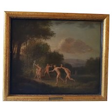 French Antique Old Master Oil Painting, Nymphs Drinking Wine, 18th Century