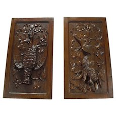 """Pair 19th Century Black Forest Style Wood Panels Plaques, Fruits of the Hunt, 23"""""""